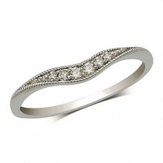 Diamond Accent Vintage-Style Contour Band in 14K White Gold