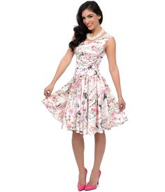 Cabaret Vintage - Roman Holiday Ivory Floral Scalloped Swing Dress - P12032, $96.00 (http://www.cabaretvintage.com/vintage-style/roman-holiday-ivory-floral-scalloped-swing-dress-p12032/)