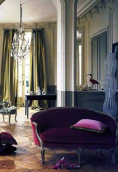 an apartment in Paris. Beautiful Interiors, French Interiors, Cool Furniture, Velvet Furniture, Interior Decorating, Interior Design, Distressed Furniture, House Colors, Pierre Frey