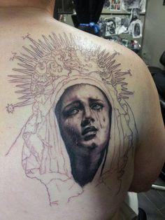 Chronic Ink Tattoo - Toronto Tattoo Virgin Mary tattoo, in progress, by Kevin.