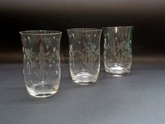 Vintage three Glasses  Glasses from the '60s  by GuestFromThePast