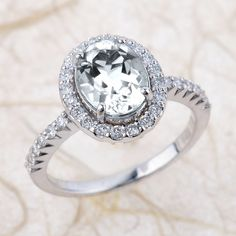 White Topaz and Diamond Halo Engagement Ring in 14k White Gold 9x7mm Oval Topaz Gemstone Ring
