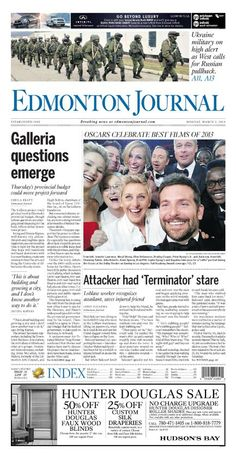 Find regular updates on the latest happenings in the city of Edmonton. Get insights on events, news, headlines and more. Oscar Films, Ukraine Military, Read Later, First Page, March, Journal, This Or That Questions, Reading, News