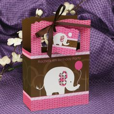 Girl Elephant  - Classic Personalized Birthday Party Favor Boxes $1.99
