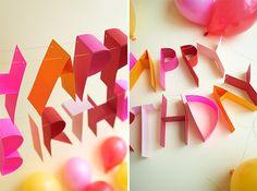 DIY 3D Paper Birthday Banner #typography