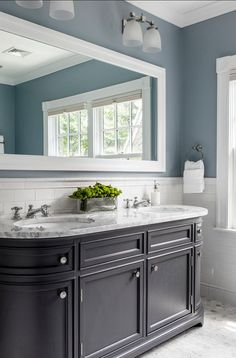 Blue is hands down, my favourite colour! There is just something about it that makes me smile and it can make a room look so pretty. One place I love to use blues is in the bathroom. You can create a beautiful relaxing space with a little paint...T...