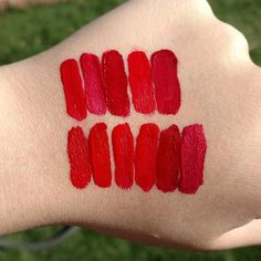 L-R FIRST ROW: Attract (Makeup Revolution), Monte Carlo (NYX), Frisky (LA Girl), How Fleek Is Your Love (Wet N Wild), Red Velvet Cake (Jordana). SECOND ROW L-R: Always Red (Sephora), Kitten Heels (NYX), Creeper (Colourpop), Amore (Milani), Devotion (Milani), & Mattely In Love (Milani metallic)