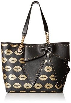 Printed tote with bow