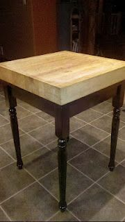DIY Butcher Block Kitchen Island - old side table repainted and a butcher block screwed on to the top