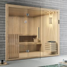 Elementsauna Tanne mit Glasfront 246 x 192 cm Sauna mit Glas inkl. Modern Saunas, Modern Pools, Sauna Steam Room, Sauna Room, Modern Bathroom Design, Bathroom Interior Design, Basement Sauna, Sauna Wellness, Piscina Spa