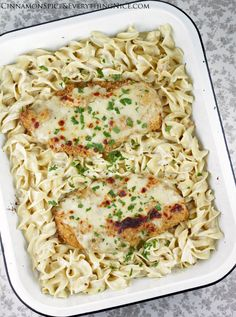 Oven Fried Swiss Cheese Chicken with Egg Noodles in a Creamy Sauce - Yields 4 Servings From Cinnamon Spice & Everything Nice