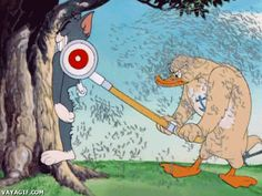 A muscle-bound duck shaves Tom with a lawnmower. | Little Quacker (1950), an MGM cartoon directed by William Hanna and Joseph Barbera; featuring Tom and Jerry