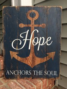 Wood Pallets Hope Anchors the Soul Reclaimed Pallet Wood by SignsfromthePines - Wood Pallet Signs, Pallet Art, Wood Pallets, Pallet Ideas, Pallet Benches, Pallet Tables, Outdoor Pallet, 1001 Pallets, Recycled Pallets