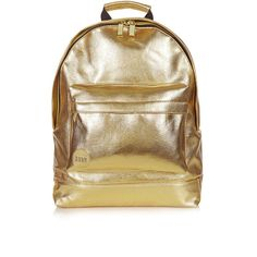 TOPSHOP **24K Backpack by Mi-Pac ($63) ❤ liked on Polyvore featuring bags, backpacks, backpack, gold, topshop backpack, brown backpack, rucksack bag, topshop and brown bag