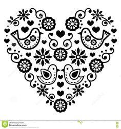 Folk Embroidery Folk art Saint Valentin coeur-amour, mariages, les anniversaires cliparts… - Vector black folk heart with flowers and birds isolated on white Hungarian Embroidery, Folk Embroidery, Learn Embroidery, Embroidery Patterns, Bordado Popular, Scandinavian Folk Art, Birthday Greeting Cards, Birthday Greetings, Valentines Day Hearts