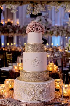 rose gold wedding check out this blush ruffle and rose gold glitter wedding cake with pink flowers toppers, perfect for spring weddings Blush Wedding Cakes, Elegant Wedding Cakes, Beautiful Wedding Cakes, Blush Weddings, White Weddings, Lace Wedding, Beautiful Cakes, Rustic Wedding, Wedding Rings