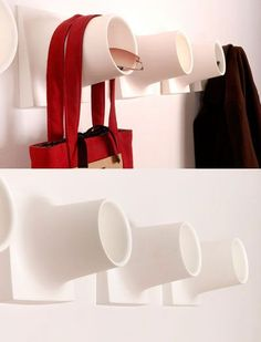 Cubby is a Hook and a Storage Bin : a diy alternative would be using pvc pipe connected to a block of wood? Ideas Decoracion Salon, Tube Pvc, Clutter Free Home, Support Mural, Creative Storage, Small Shelves, Coat Hooks, Coat Hanger, Hanger Hooks