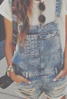 Love the combo of John Lennon glasses and rugged overalls.. I'm kinda loving overalls now