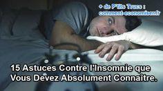 Voici 15 astuces que vous devez absolument connaître pour venir à bout de vos insomnies naturellement :-)  Découvrez l'astuce ici : http://www.comment-economiser.fr/astuces-insomnies-connaitre.html?utm_content=bufferf0f42&utm_medium=social&utm_source=pinterest.com&utm_campaign=buffer