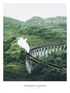 Stunning poster of the Hogwarts Express from Harry Potter, speeding towards us. Nature Posters, Love Posters, Beautiful Posters, Beautiful Places, Hogwarts Poster, Harry Potter Poster, Morning Sun, Window Poster, Poster Wall