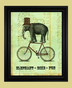 Elephant Art, Circus Elephant on Bicycle Illustration, Fun Vintage Elephant Drawing with Hat, Poster Print 8 x 10