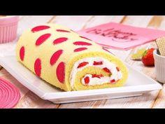 Käsekuchen mal anders - Rezept mit Erdbeer Polka Dots als Rolle - YouTube