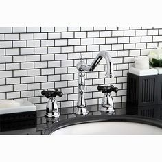 Heritage Onyx Double Handle Widespread Bathroom Faucet with Pop-Up Drain