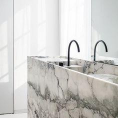 Beautiful stone Bathroom by with Caprina Nuvolata marble from Best Bathroom Designs, Bathroom Interior Design, Splish Splash, Vanity Sink, Terrazzo, Amazing Bathrooms, Bathtub, House, Home Decor