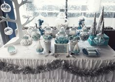 Silver and Blue Christmas Party Table #silverblue #christmas