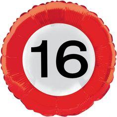 Folie ballon cijfer 16. Een folie ballon in de vorm van een verkeersbord met het cijfer 16. De ballon wordt gevuld met helium bij u bezorgd. De ballon is opgeblazen ongeveer 45 cm groot. Deze folie ballon wordt gevuld met helium geleverd en kan derhalve niet worden geretourneerd.