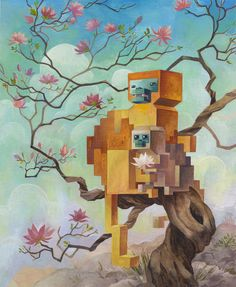 Taking inspiration from a love for nature and classic video games, Laura Bifano paints polygonal animals out in the wild in the series Menagerie. Laura's work has a very whimsical, fairy-tale… Pixel Art, 3d Pixel, Wild Life, Art Et Illustration, Arte Popular, Electronic Art, Canadian Artists, Art Design, Graphic Design