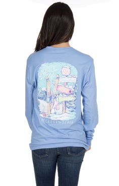 Lauren James Long Sleeve Tee- The Sweet Life- Skiing- Polar Blue from Shop Southern Roots TX