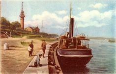 Latarnia w Nowym Porcie. Koniec XIX wieku / The New Port Lighthouse in Gdansk Danzig, Wish You Are Here, Lighthouse, Poland, Perspective, Travel, Painting, History, Cities