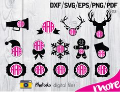 20 vector Silhouettes with Monogram + Circle Monogram Alphabet: dxf, svg, eps, pdf vector files for die cutting + GIFT by Photodo on Etsy https://www.etsy.com/listing/213100373/20-vector-silhouettes-with-monogram