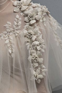 Ivory tulle ball gown with puff flower appliques and hand embroidery Couture Embroidery, Embroidery Fashion, Embroidery Dress, Beaded Embroidery, Hand Embroidery, Couture Details, Fashion Details, Tulle Ball Gown, Ball Gowns