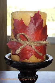diy home decor fall | Decorative Leaf Candle. This would be cute with the candels next to the fireplace