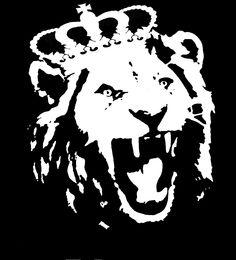 Lion stencil, bathroom wall