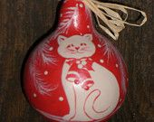 primitive christmas cat art on Etsy, a global handmade and vintage marketplace.