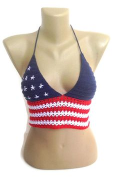 American flag Crochet Crop Top  stars and stripes summer top  beachwear festival tank top halter top senoAccessory on Etsy, 35,00 $