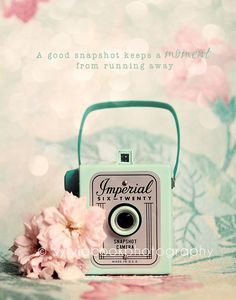 Shabby chic home decor-vintage Imperial camera-fine art print-spring home decor barkcloth-pink and green. $30.00, via Etsy.