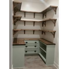 """Dream pantry is complete! Walls shiplap and painted @sherwinwilliams White Dove. Cabniets are /benjaminmoore/ Antique Jade and hardware is from…"""
