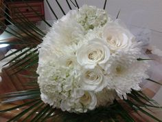 Hydrangea, Roses and Spider mums (except roses would be light pink