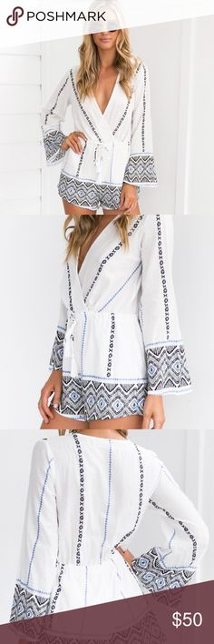 """▪️LAST 1️⃣ MED▪️Goddess White Playsuit Romper DETAILS: 📸 Mura Boutique White and blue embroidered, patterned playsuit V-neckline Elastic Waist Full-length sleeve with slight flare Tie-up detail Throw over wear  FIT: Regular fit Slight stretch to material  Cotton / Polyester  CARE INSTRUCTIONS: Cold gentle hand wash Do not tumble dry Cool iron Dry clean recommended Follow care instructions  MODEL DETAILS: Model: Brooke  Dress size 8 (AU) Height: 170cm (5'7"""") Bust: 75cm Waist: 62cm Hips…"""