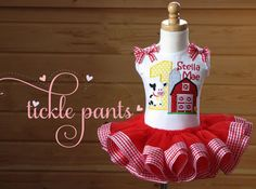 E-I-E-I-O Farm Birthday Tutu Collection- Red- Includes top, tutu and hairbow- More animals available- Can be customized for your party on Etsy, $64.99