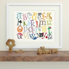 Alphabet Print with Decorative Characters - Nursery Art, Nursery Decor by MacieDotDoodles on Etsy https://www.etsy.com/listing/120292303/alphabet-print-with-decorative