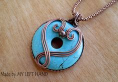 Turquoise Doublesided Copper Wire Wrapped Pendant Necklace, Turquoise Necklace, Woven Necklace