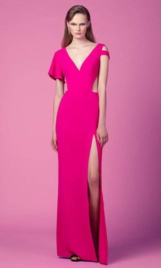 Class and sophistication are achieved in this sleek design by Edition Gemy Maalouf ED 1613LD. This crepe dress showcases a plunging V neckline and cutout details in on the waist and sleeve. A side slit accents the sheath silhouette to perfectly elongate your sexy leg and finishes to a full length hemline. Be a woman of style and beauty in this classy Edition Gemy Maalouf creation. Prom Dresses With Sleeves, Formal Dresses For Women, Homecoming Dresses, Pink Dresses, Slit Dress, Crepe Dress, V Neck Dress, Long Sleeve Evening Gowns, Evening Dresses
