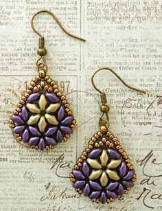 Free pdf for Bethany superduo earrings  ~ Seed Bead Tutorials