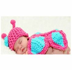 PinkXenia Newborn HandKnitted Crochet Butterfly costume set