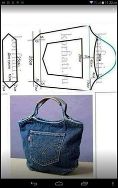 Denim Bag made from recycled jeans. Denim Bag made from recycled jeans. Jean Crafts, Denim Crafts, Upcycled Crafts, Tape Crafts, Repurposed, Artisanats Denim, Denim Purse, Tote Purse, Tote Bags